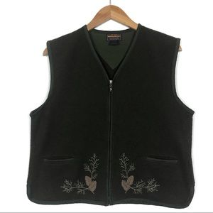 Woolrich Dark Loden Green 100% Wool Pinecone Vest